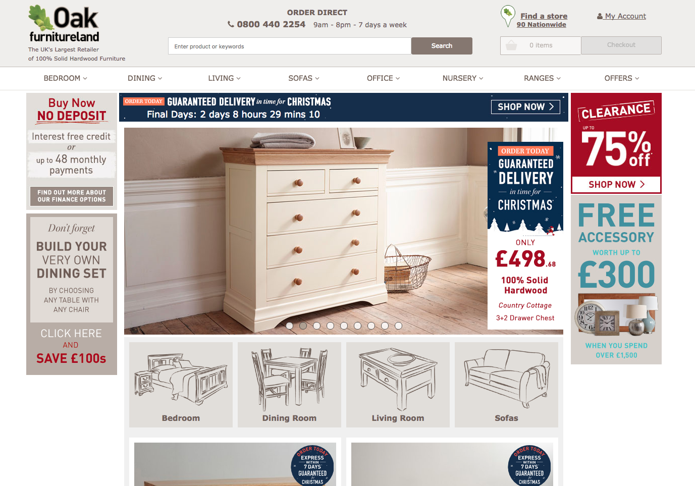 Oakfurnitureland homepage