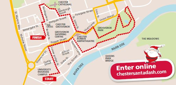 Chester Santa Dash 2016 Route Map